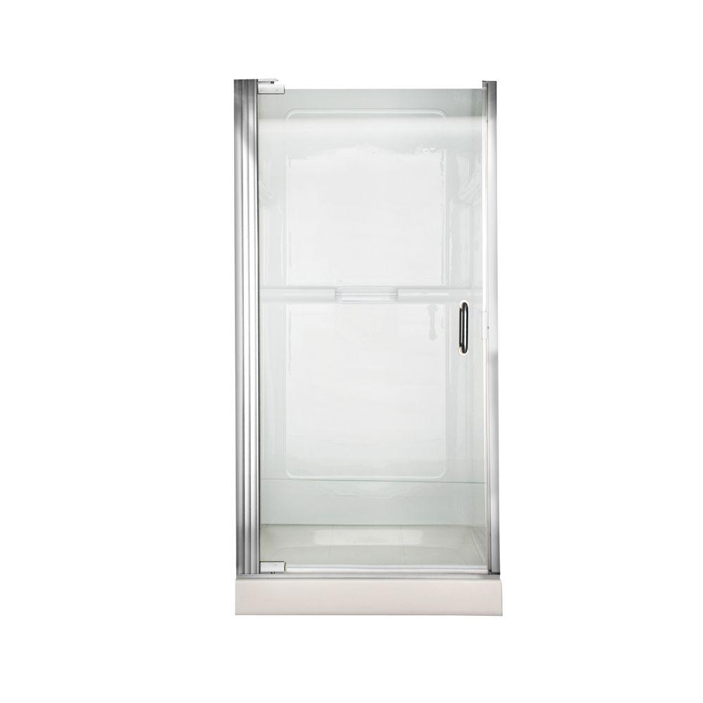 Euro 25.43 in. x 65.56 in. Semi-Framed Continuous Pivot Shower Door