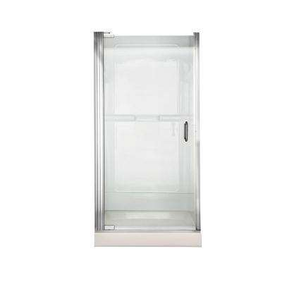 Euro 25.43 in. x 65.56 in. Semi-Frameless Continuous Pivot Shower Door in Silver with Clear Glass