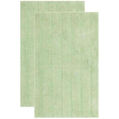 Plush Master Bath Light Green 1 ft. 9 in. x 2 ft. 10 in. 2-Piece Rug Set