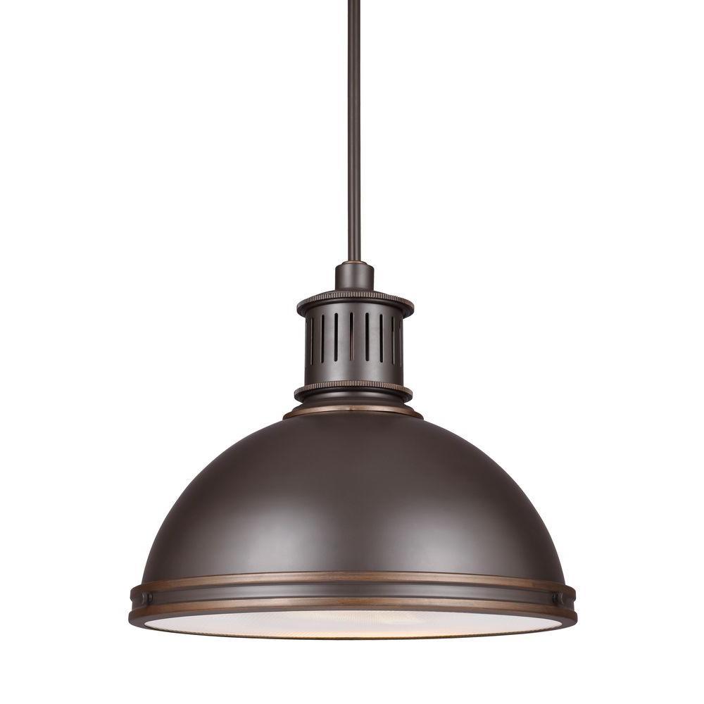 Pratt Street Metal 28-Watt Autumn Bronze Integrated LED Pendant