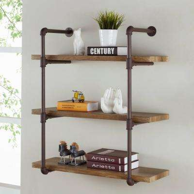 Urbanne Industrial Aged 3-Tiered Wood Print MDF and Metal Pipe Floating Wall Shelf