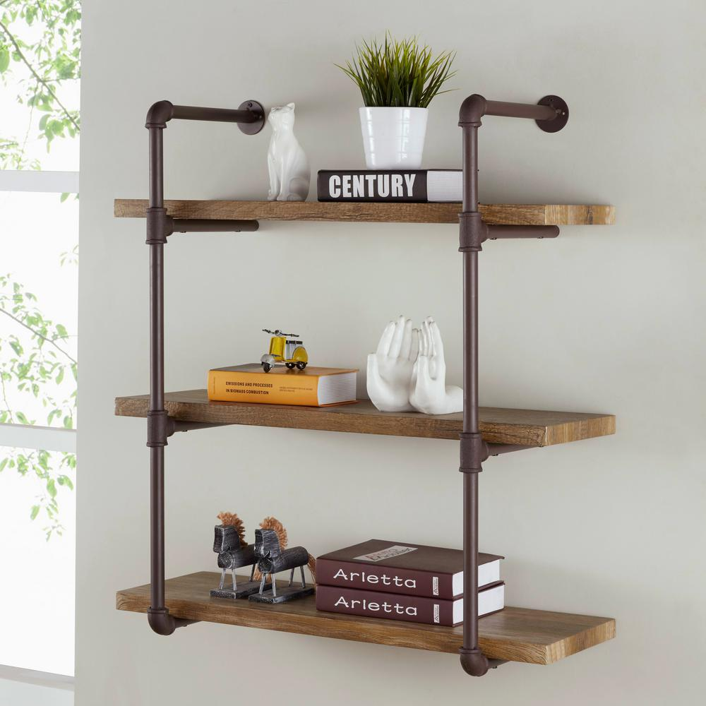 Danya b urbanne industrial aged 3 tiered wood print mdf and metal danya b urbanne industrial aged 3 tiered wood print mdf and metal pipe floating wall amipublicfo Images