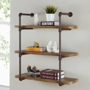 Danya B. GH073 3 Tier Industrial Pipe Wall Shelf (Brown)