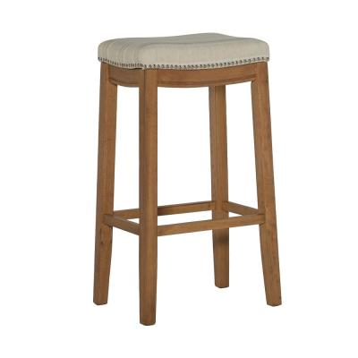 Claridge 30 in. Rustic Brown Faux Flokati Bar Stool