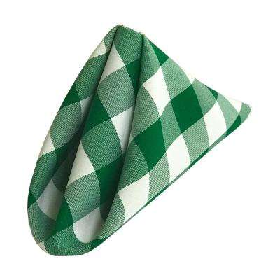18 in. x 18 in. White and Hunter Green Gingham Checkered Napkins (10-Pack)