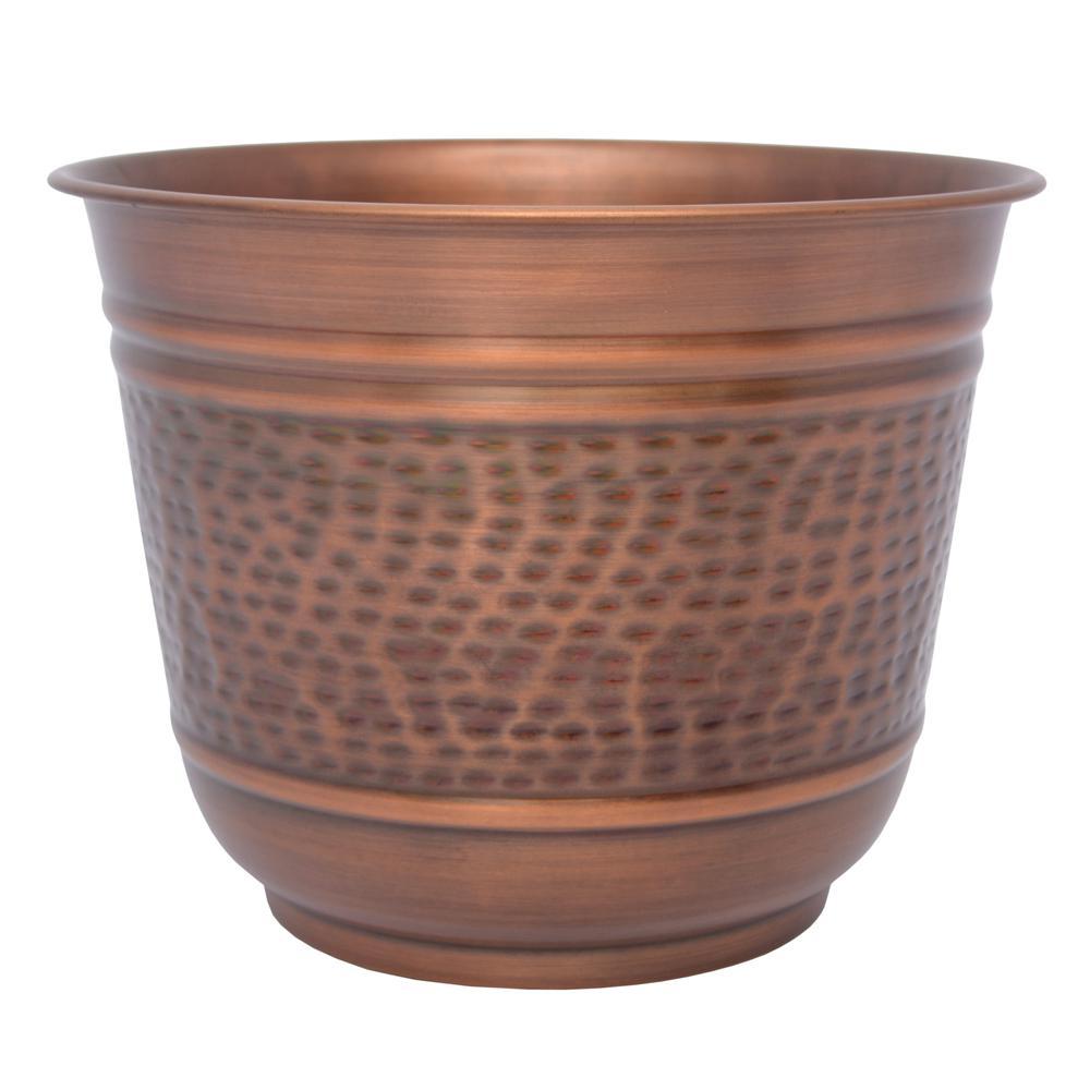14 in. Antique Copper Large Round Metal Planter