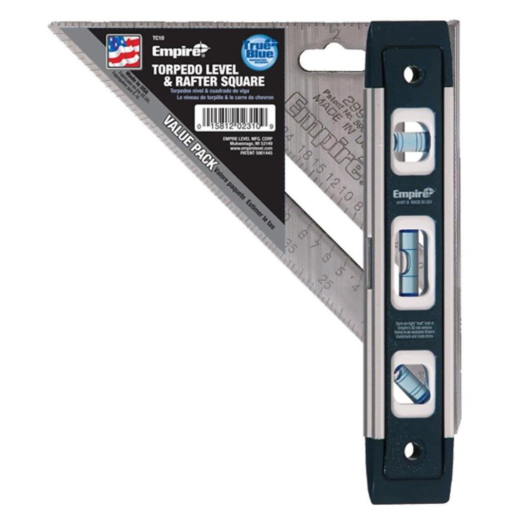 9 in. Torpedo Level and 7 in. Aluminum Rafter Square Combo