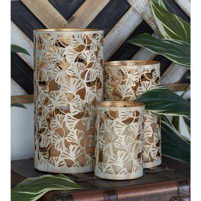 Washed Oak Brown Ginkgo Leaf Candle Lanterns (Set of 3)