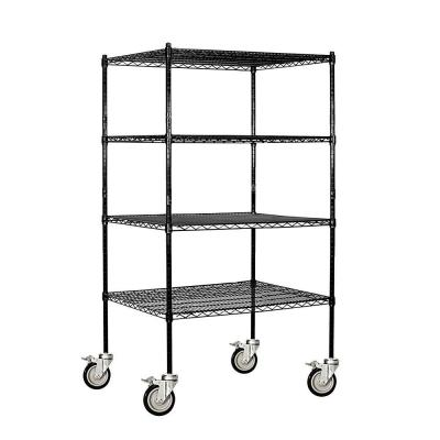 Black 3-Tier Rolling Welded Wire Shelving Unit (36 in. W x 69 in. H x 24 in. D)