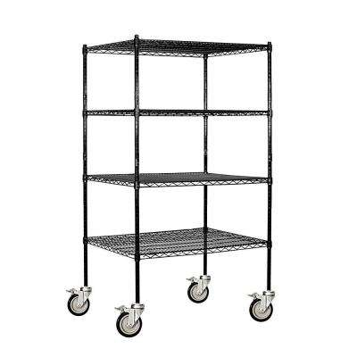 36 in. W x 69 in. H x 24 in. D Industrial Grade Welded Wire Mobile Wire Shelving in Black