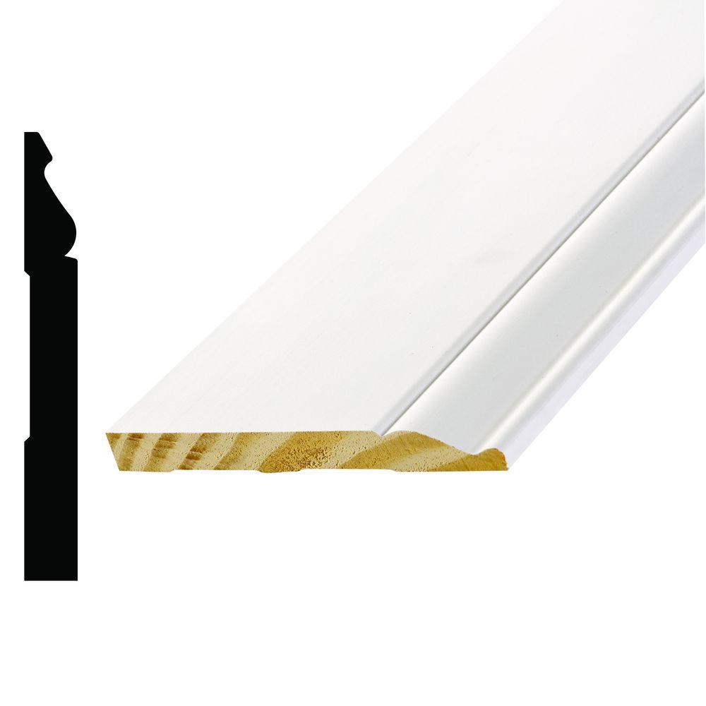 L 163E 9/16 in. x 5-1/4 in. x 96 in. Primed White Finger-Jointed Wood Poplar Base Moulding