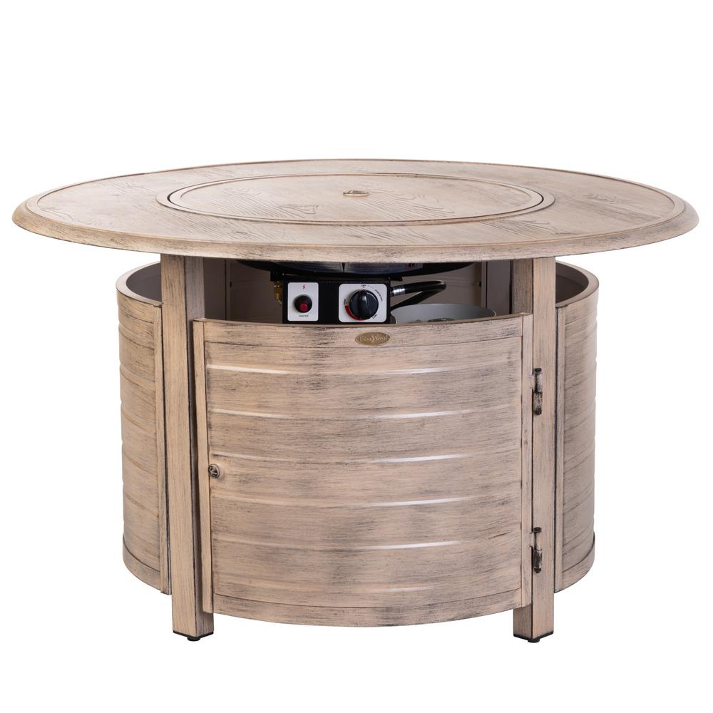 Fire Sense Thatcher 42 in. x 24 in. Round Aluminum Propane Fire Pit Table in Driftwood