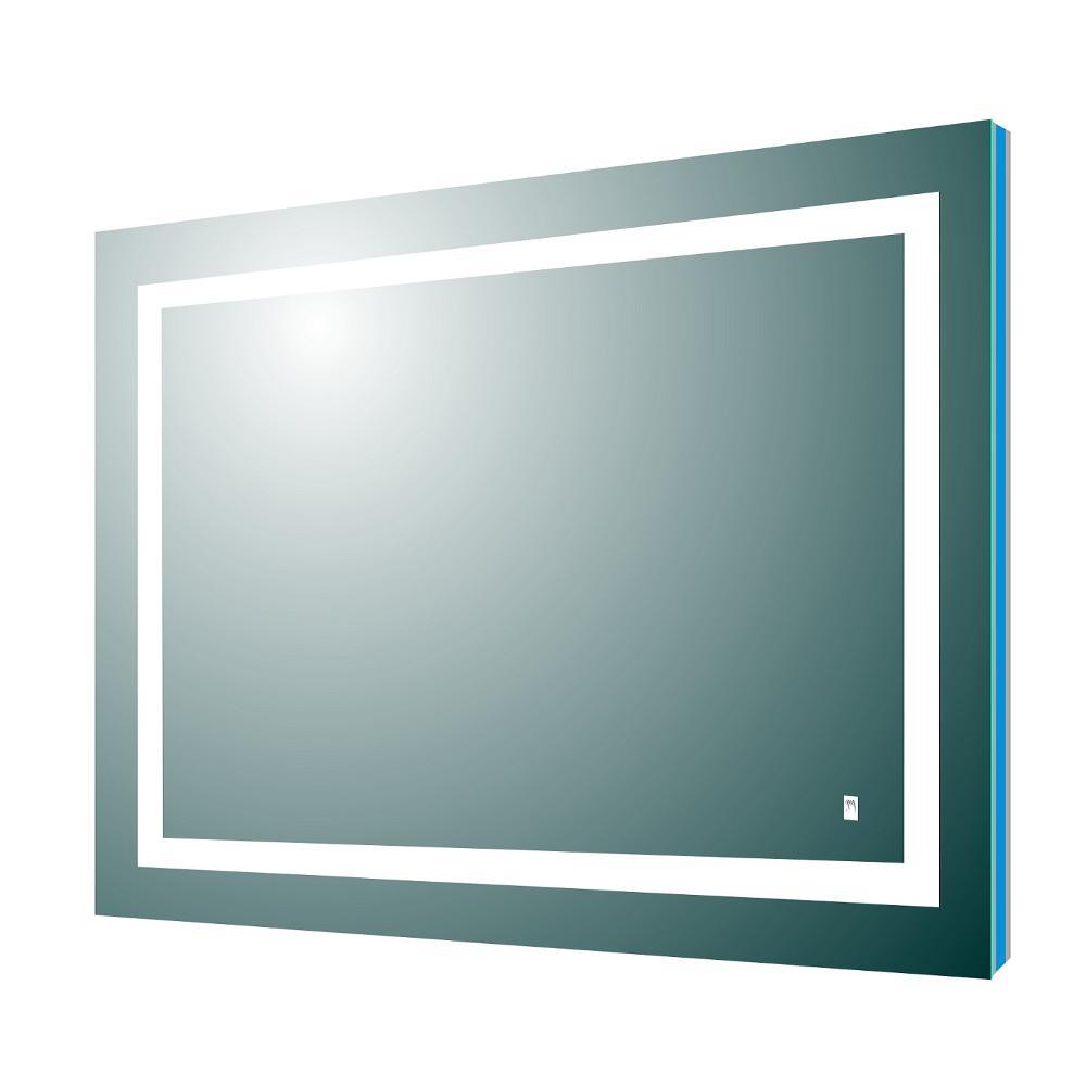 Deco 36 in. W x 30 in. H Frameless Rectangular LED Light Bathroom Vanity Mirror in Aluminum