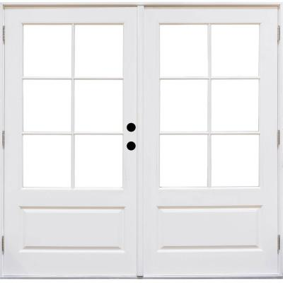 72 in. x 80 in. Fiberglass Smooth White Left-Hand Outswing Hinged 3/4-Lite Patio Door with 6-Lite SDL