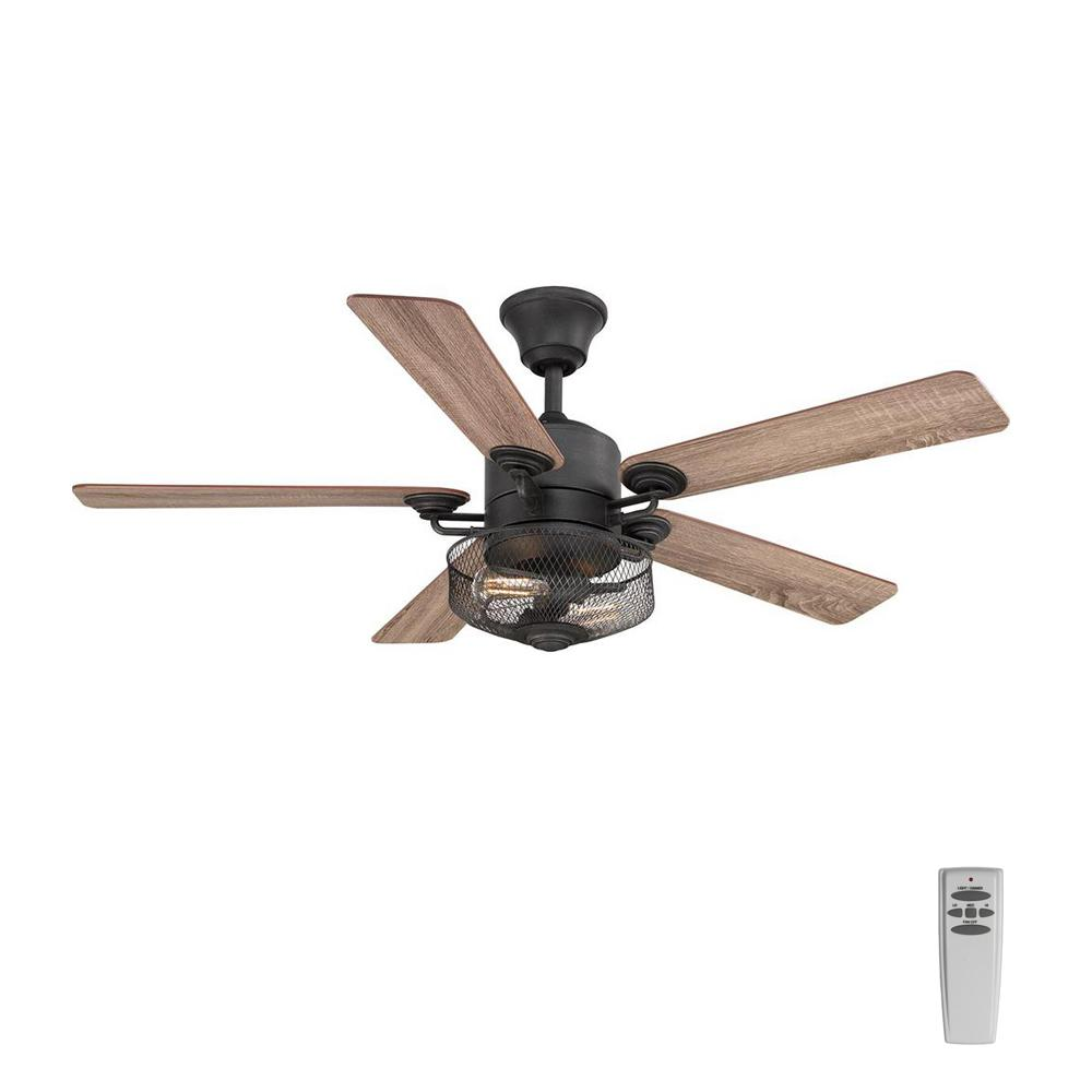 Progress Lighting Greer 54 in. Integrated LED Indoor Gilded Iron Indoor or Outdoor Ceiling Fan with Light Kit and Remote
