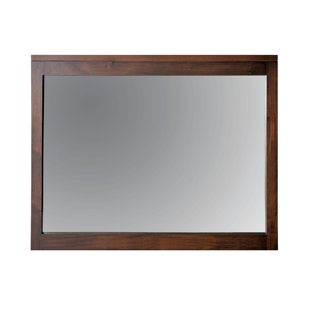 Medium Rectangle Espresso Modern Mirror (34 in. H x 43 in. W)