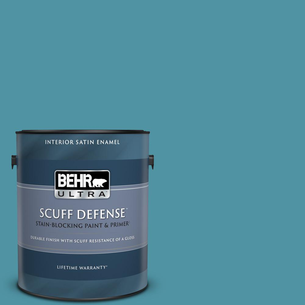 Behr Ultra Scuff Defense 1 Gal 530d 6 Teal Bayou Extra Durable Satin Enamel Interior Paint And Primer In One 775301 The Home Depot