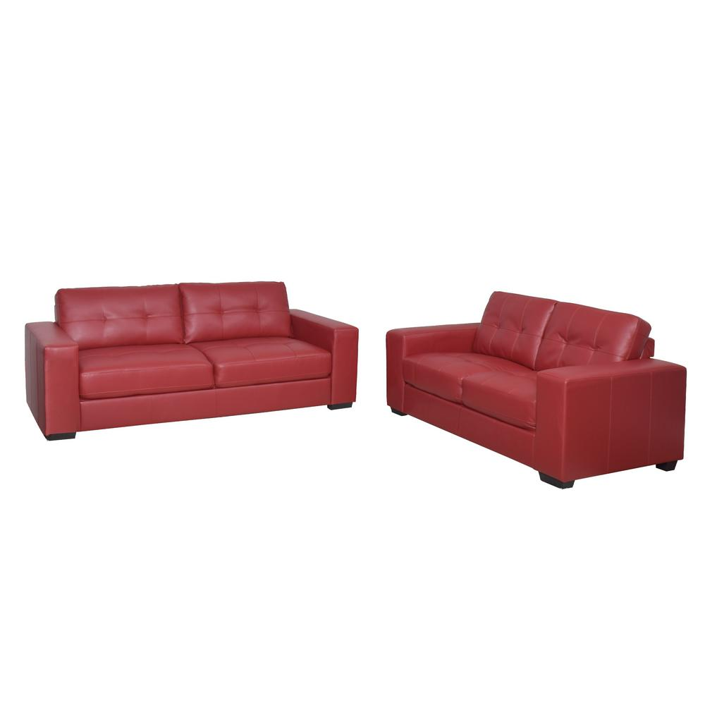 Corliving club 2 piece tufted red bonded leather sofa set for 2 piece red sectional sofa