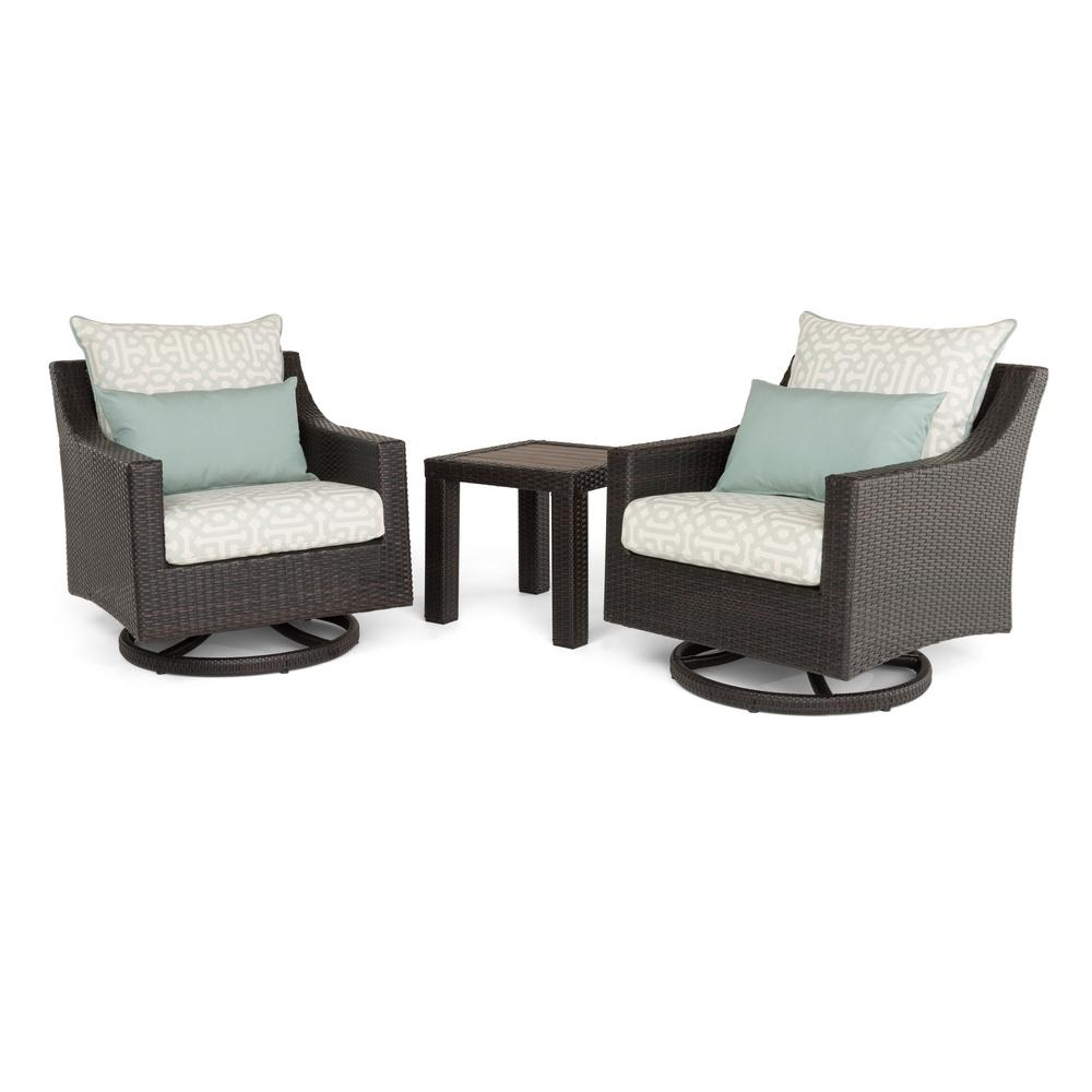 Deco 3-Piece All-Weather Wicker Patio Deluxe Motion Club Chairs and Side