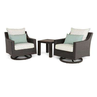 Deco 3-Piece All-Weather Wicker Patio Deluxe Motion Club Chairs and Side Table Seating Set with Spa Blue Cushions