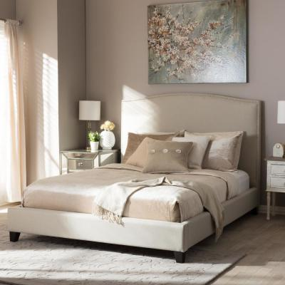 Aisling Transitional Beige Fabric Upholstered King Size Bed