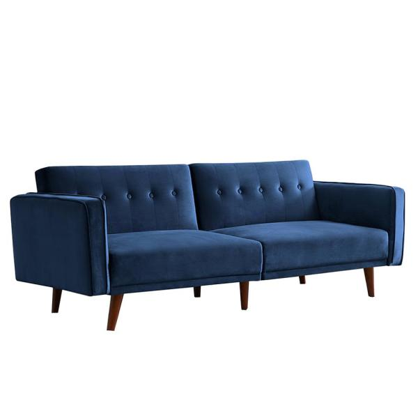 85 in. W Dark Blue Modern Stylish Lawson Velvet Fabric Folding 3 Seats Twin Sofa Beds with Convertible Back