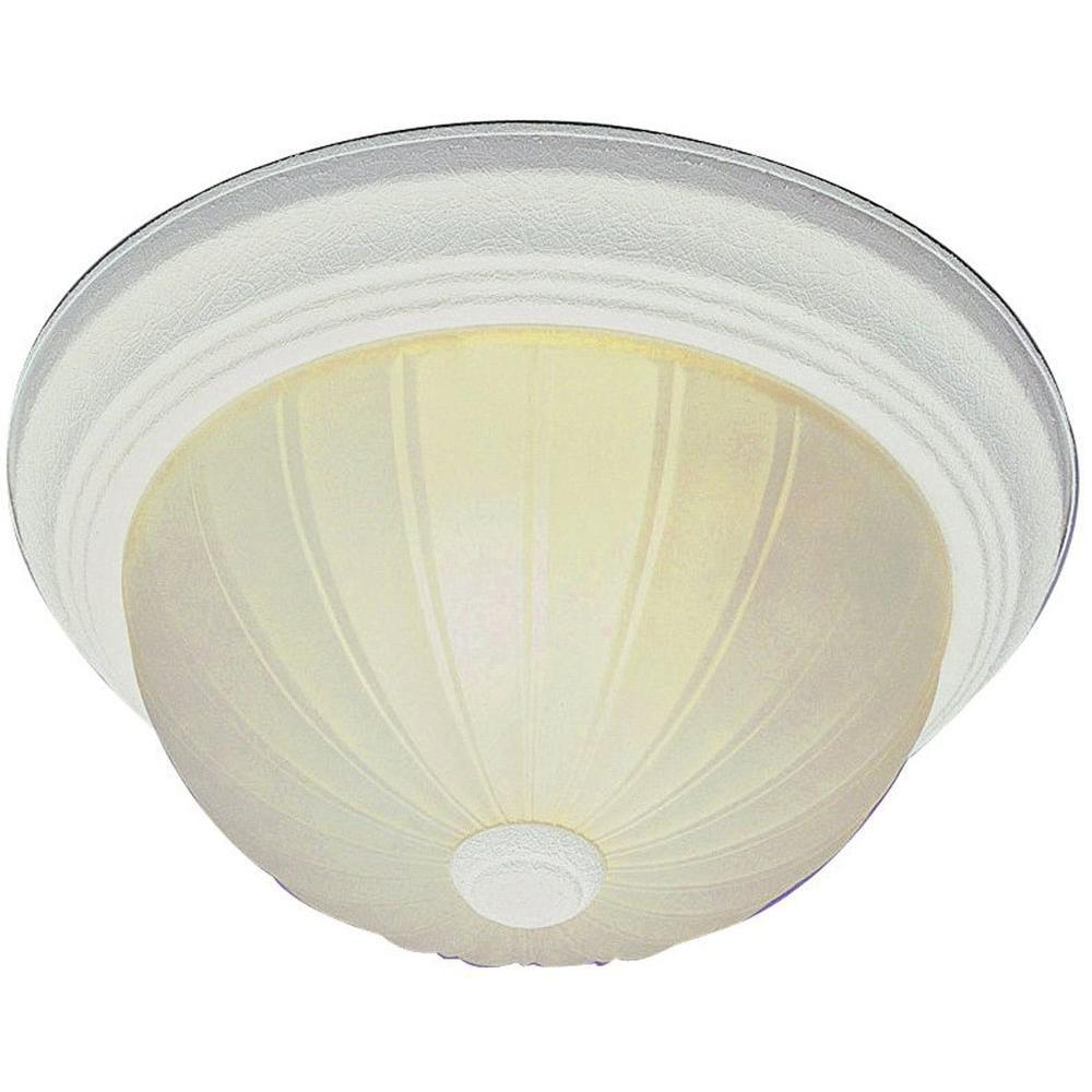 Stewart 2-Light Antique White Incandescent Ceiling Flushmount