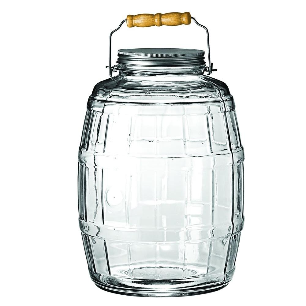Anchor Hocking 2.5 gal. Barrel Jar This Anchor Hocking 85679 2.5 gal. Barrel Jar is perfect for storing popcorn, coffee beans, candy and much more. It's ideal for use in your bar, restaurant or cafe. It is approximately 13 in. high and 9 in. diameter. You'll have both great storage and decor.