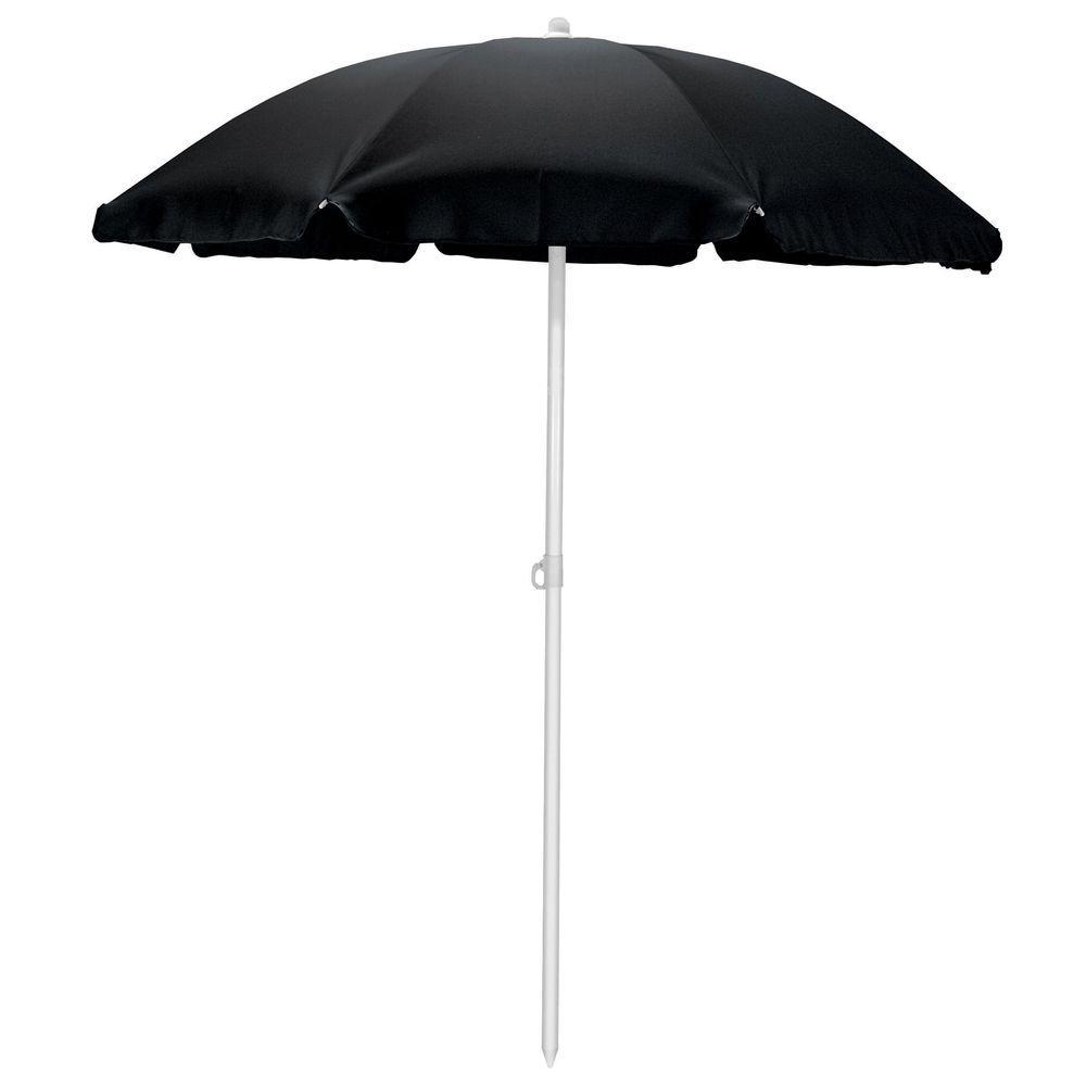 Picnic Time 5.5 ft. Beach Patio Umbrella in Black