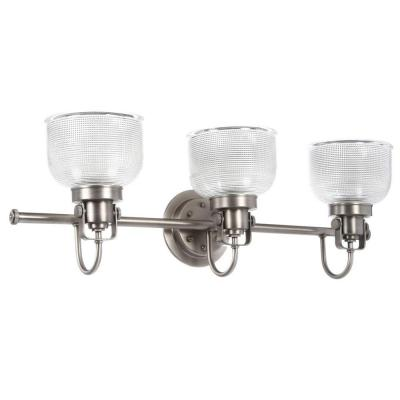 Archie Collection 26.25 in. 3-Light Antique Nickel Bathroom Vanity Light with Glass Shades
