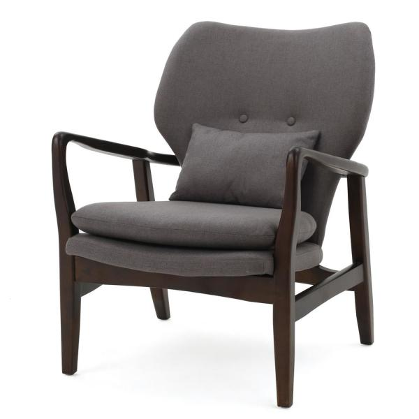 Noble House Haddie Button Back Dark Gray Fabric Club Chair with