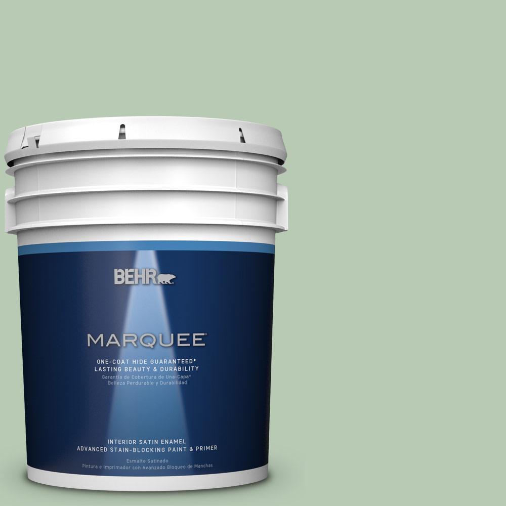 5 gal. #S400-3 Healing Aloe One-Coat Hide Satin Enamel Interior Paint
