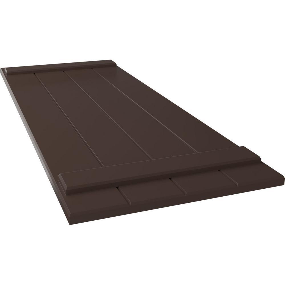 Ekena Millwork 21 1 2 X 68 True Fit Pvc Four Board Joined Board N Batten Shutters Raisin Brown Per Pair 1573674 The Home Depot