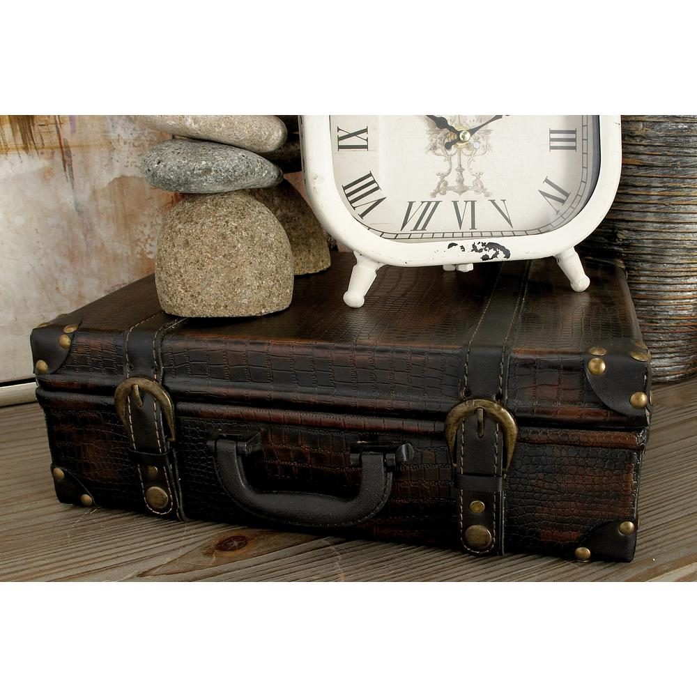 Brown Suitcase-Style MDF Wood and Synthetic Leather Decorative Boxes (Set of