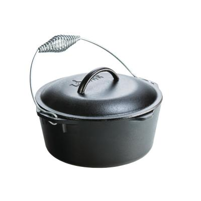 Enamel 5 qt. Round Cast Iron Dutch Oven in Black with Lid and Bail Handle