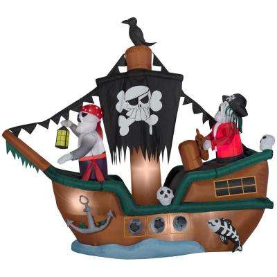 10 ft. Animated Inflatable Skeleton Pirate Ship
