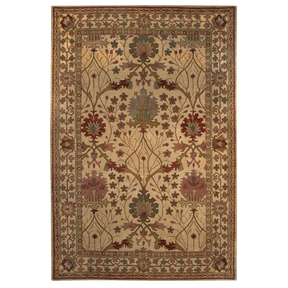 Linon Home Decor Rosedown Collection Beige And Spa Blue 5 Ft X 8 Ft Indoor Area Rug Rug