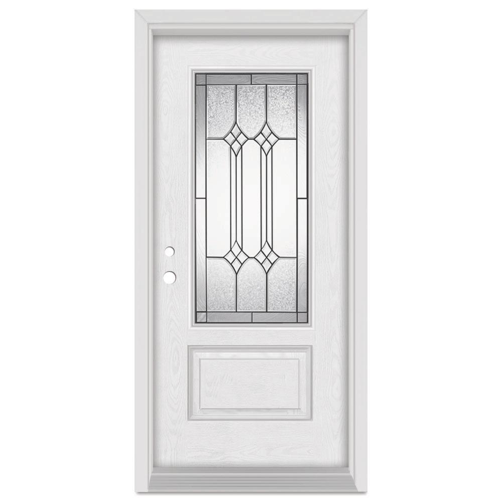 Stanley Doors 33.375 in. x 83 in. Orleans Right-Hand 3/4 Lite Patina Finished Fiberglass Oak Woodgrain Prehung Front Door Brickmould