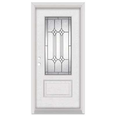 33.375 in. x 83 in. Orleans Right-Hand 3/4 Lite Patina Finished Fiberglass Oak Woodgrain Prehung Front Door Brickmould