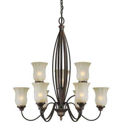 9-Light Antique Bronze Chandelier with Umber Mist Glass Shade