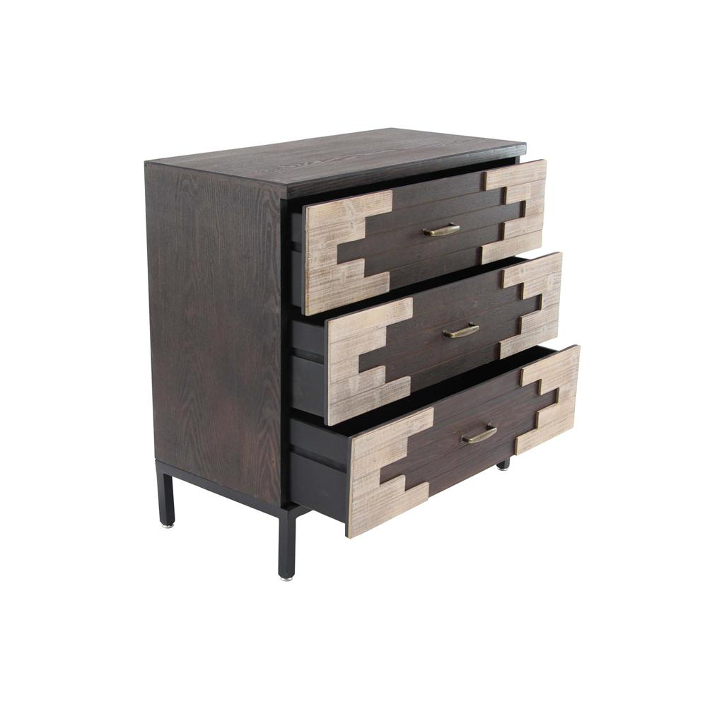 3-Drawer Polished Brown Wooden Chest