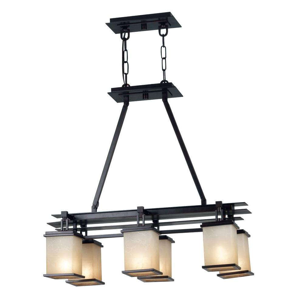 Plateau 6-Light Oil Rubbed Bronze Island Light with Amber Glass Shade
