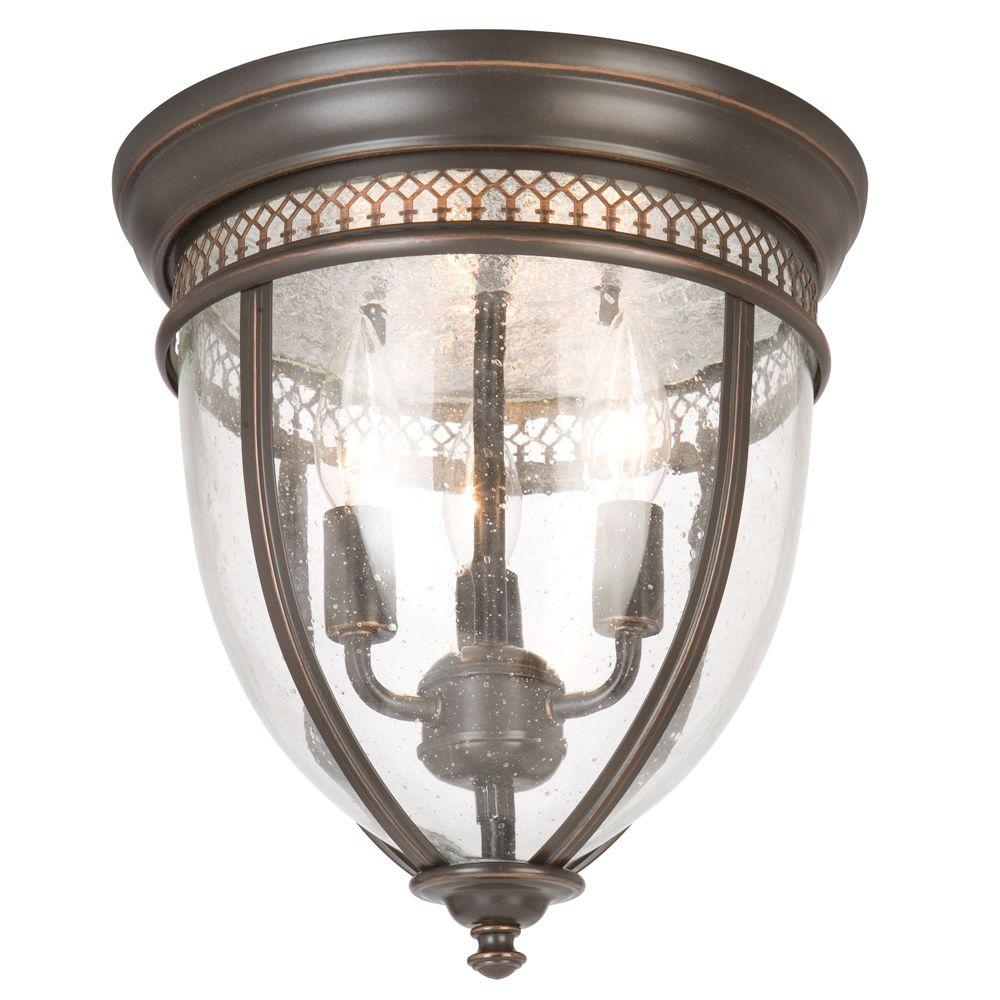 Hampton Bay 11 In 3 Light Oil Rubbed Bronze Flush Mount With Gl Shade