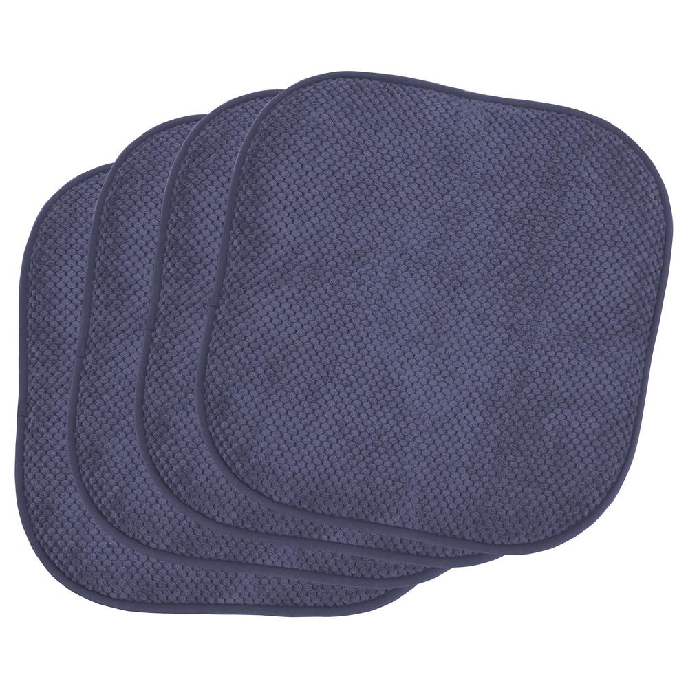 Bon Appetite Dark Navy 4-Piece Cushioned Chair Pad Set