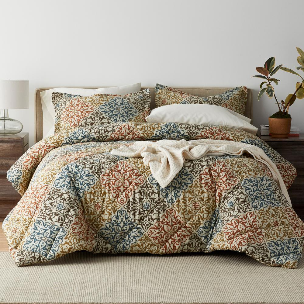 Seville 3-Piece 200-Thread Count Cotton Percale Queen Comforter Set