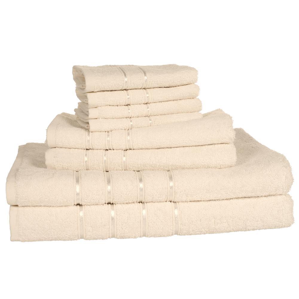 100% Cotton Bath Towel Set in Bone (8-Piece)