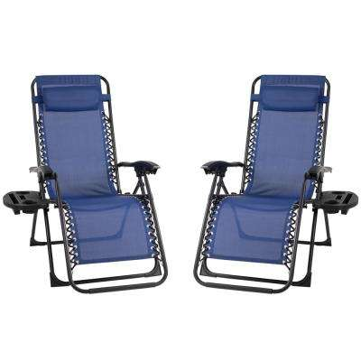 Patio Premier Metal Outdoor Recliner Gravity Chairs in Blue (2-Pack)