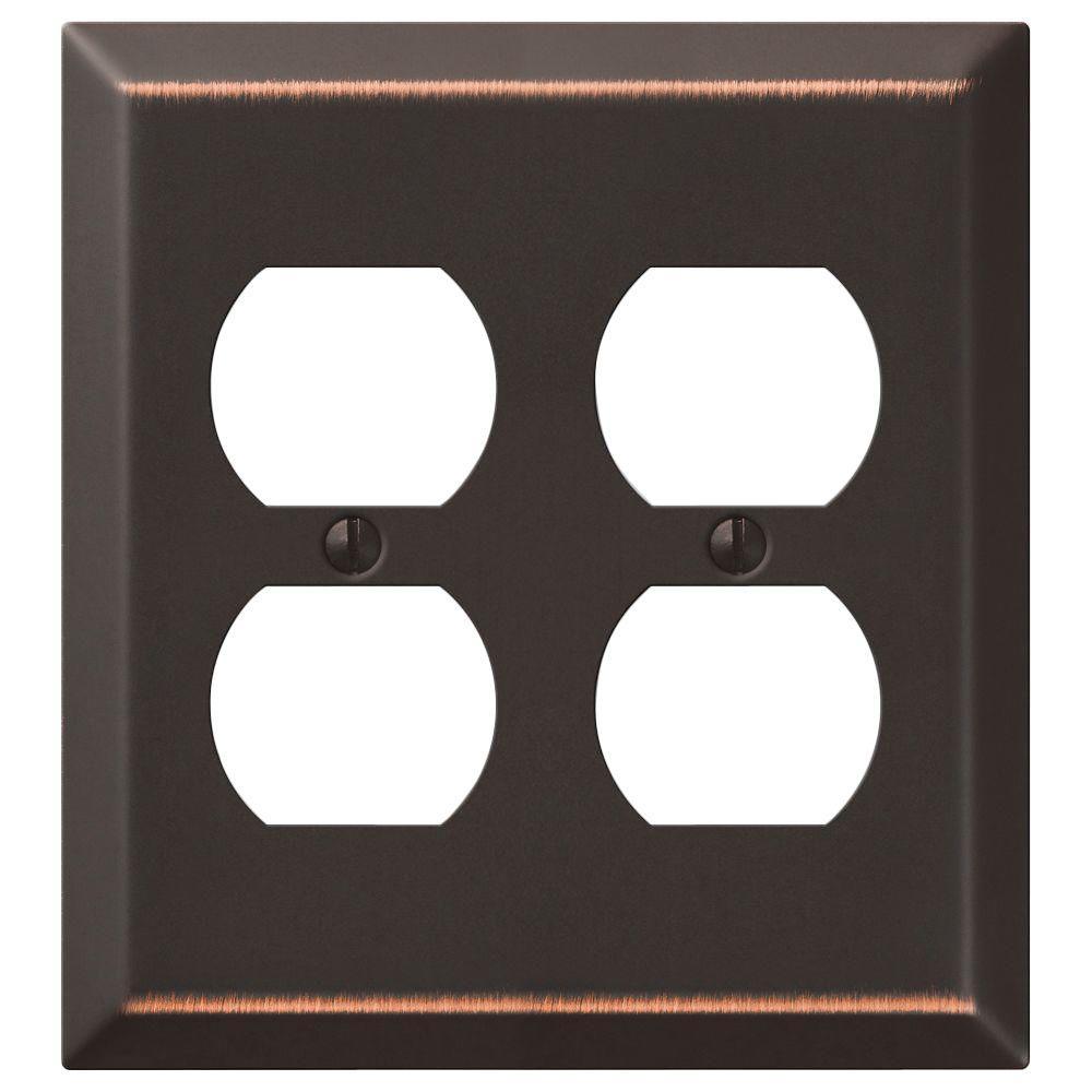 Steel 2 Duplex Wall Plate - Aged Bronze