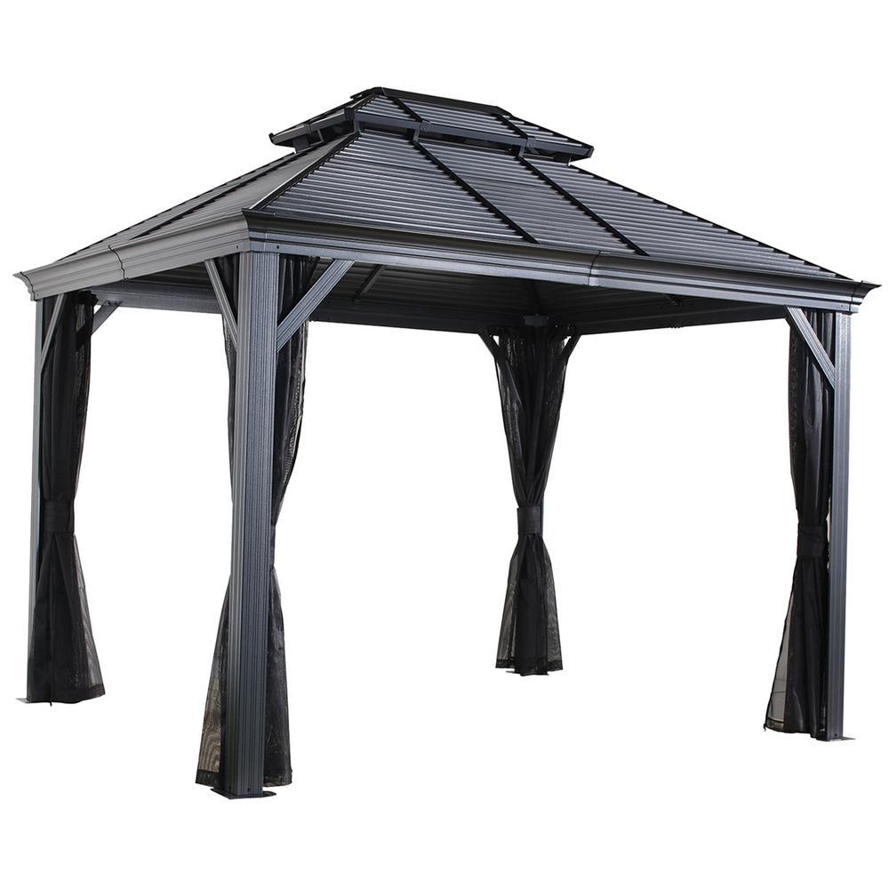 10 ft. D x 12 ft. W Mykonos II Aluminum Gazebo with Galvanized Steel Roof Panels and Nylon Mosquito Netting