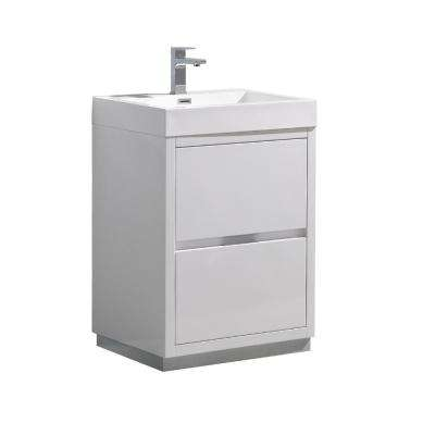 Valencia 24 in. W Bathroom Vanity in Glossy White with Acrylic Vanity Top in White